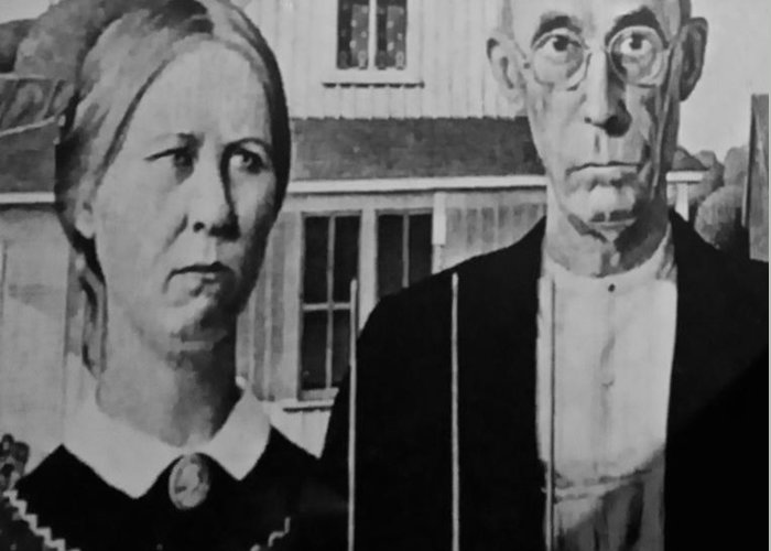 Americana Greeting Card featuring the photograph American Gothic In Black And White by Rob Hans