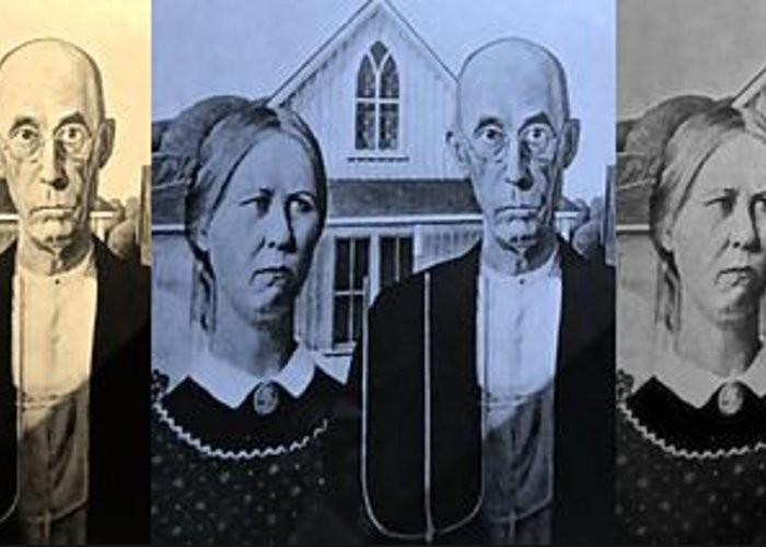 Americana Greeting Card featuring the photograph American Gothic In Colors by Rob Hans