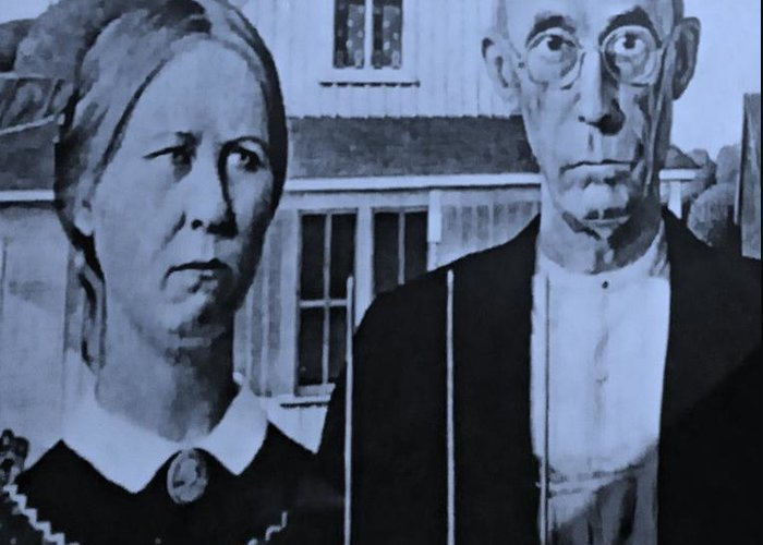 Americana Greeting Card featuring the photograph American Gothic In Cyan by Rob Hans