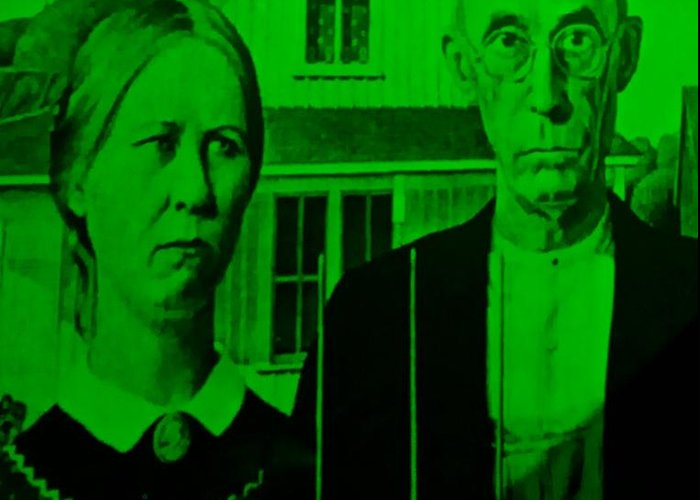 Americana Greeting Card featuring the photograph American Gothic In Green by Rob Hans