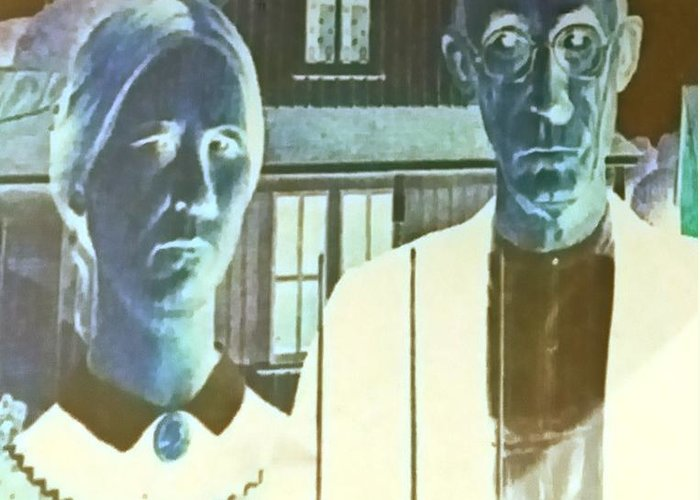 Americana Greeting Card featuring the photograph American Gothic In Negative by Rob Hans