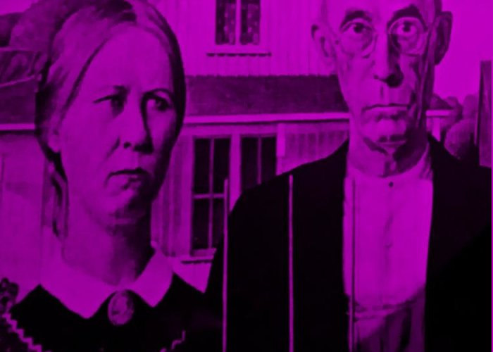 Americana Greeting Card featuring the photograph American Gothic In Purple by Rob Hans