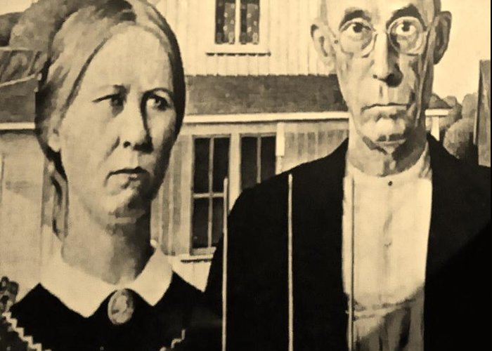 Americana Greeting Card featuring the photograph American Gothic In Sepia by Rob Hans