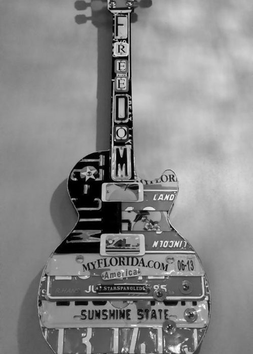 Star Spangled Greeting Card featuring the photograph American Guitar In Black And White by Rob Hans