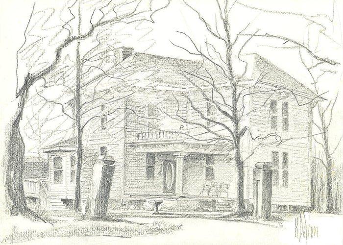 American Home Ii Greeting Card featuring the drawing American Home II by Kip DeVore