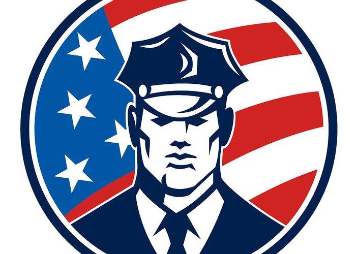 Policeman Greeting Card featuring the digital art American Policeman Security Guard Retro by Aloysius Patrimonio
