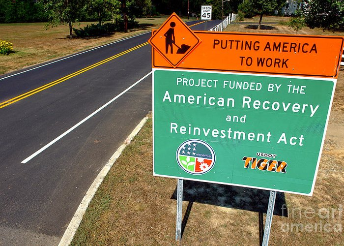 American Greeting Card featuring the photograph American Recovery And Reinvestment Act Road Sign by Olivier Le Queinec
