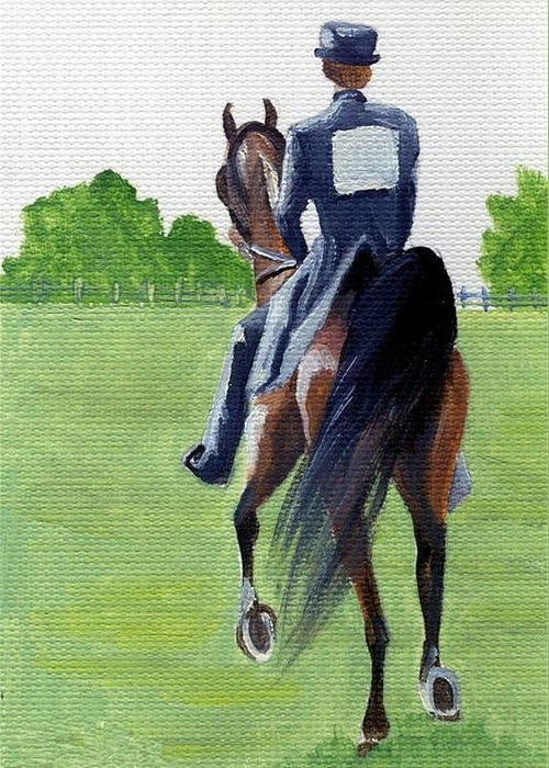 American Saddlebred Down The Road Greeting Card featuring the painting American Saddlebred Down The Road by Olde Time Mercantile