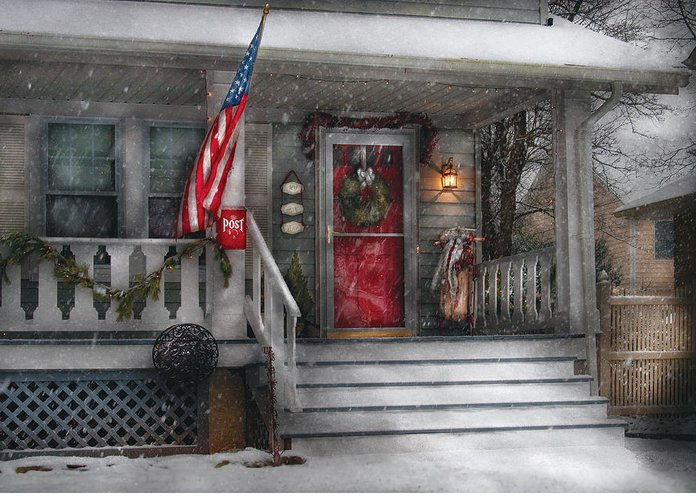 Savad Greeting Card featuring the photograph Americana - A Tribute To Rockwell - Westfield Nj by Mike Savad