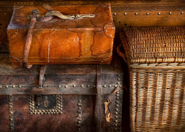 Luggage Greeting Card featuring the photograph Americana - Emotional Baggage by Mike Savad