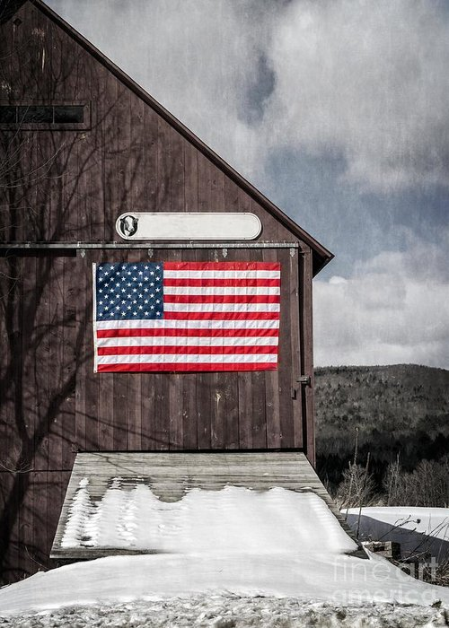 Americana Greeting Card featuring the photograph Americana Patriotic Barn by Edward Fielding