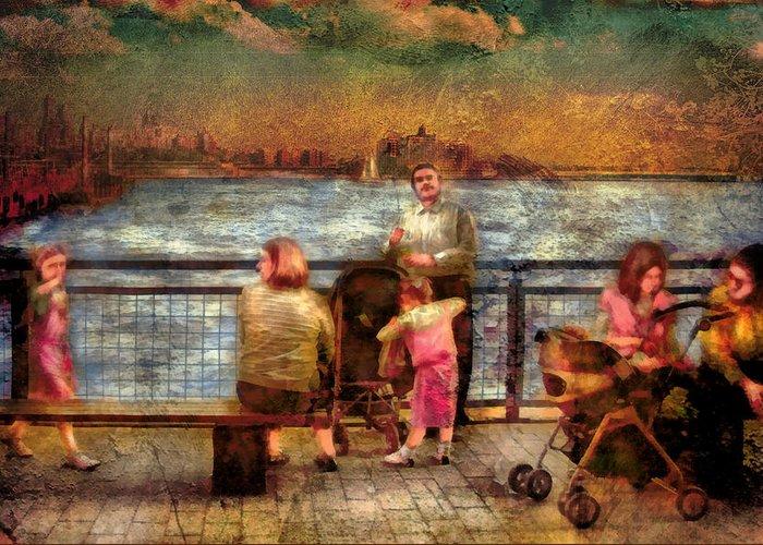 Savad Greeting Card featuring the digital art Americana - People - Jewish Families by Mike Savad