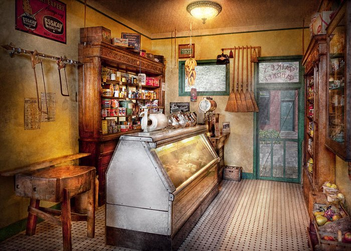 Grocer Greeting Card featuring the photograph Americana - Store - At The Local Grocers by Mike Savad