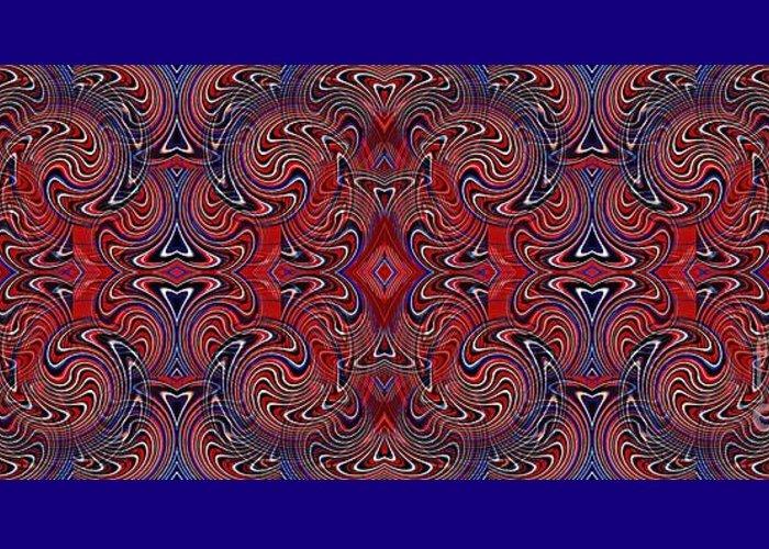 Americana Greeting Card featuring the digital art Americana Swirl Banner 1 by Sarah Loft