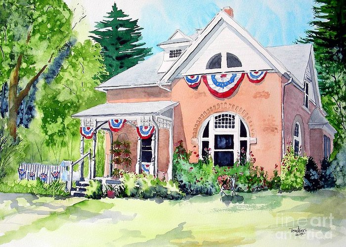 Americana Greeting Card featuring the painting Americana by Tom Riggs