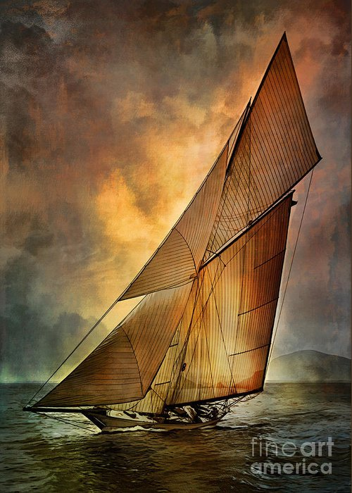 Sailboat Greeting Card featuring the digital art America's Cup by Andrzej Szczerski