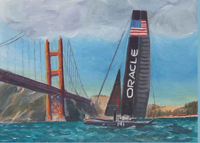 San Francisco Greeting Card featuring the painting Americas Cup By The Golden Gate by James Lopez