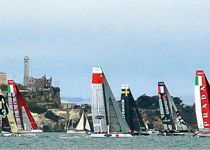 America's Cup Greeting Card featuring the photograph America's Cup World Series by Robin Stout