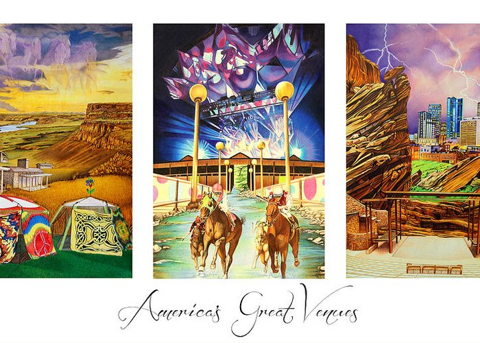 The Gorge Greeting Card featuring the drawing America's Great Venues by Joshua Morton