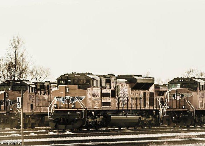 Railroad Greeting Card featuring the photograph America's Railway by Kim Loftis