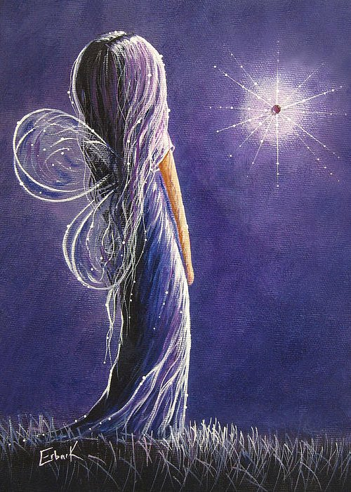 Fairies Greeting Card featuring the painting Amethyst Fairy By Shawna Erback by Shawna Erback