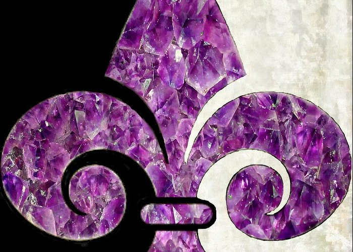 Amethyst Greeting Card featuring the painting Amethyst Fleur De Lis by Barbara Chichester