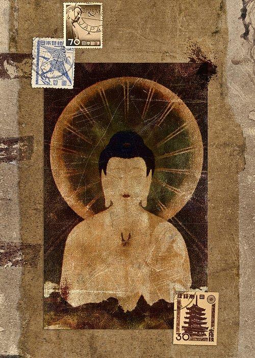 Buddha Greeting Card featuring the photograph Amida Buddha Postcard Collage by Carol Leigh