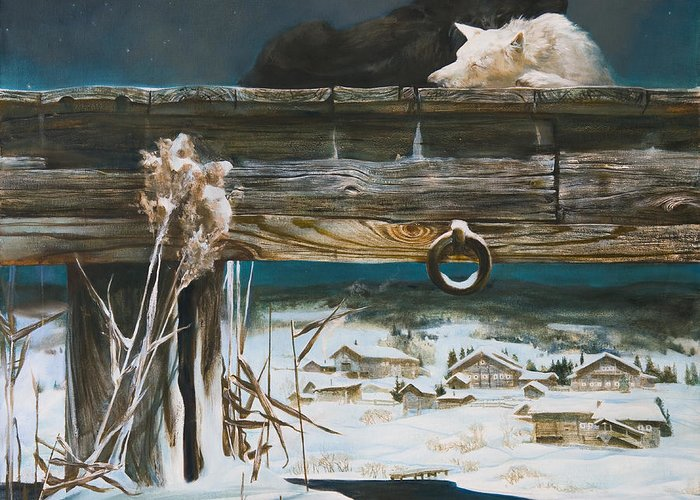 Winter Greeting Card featuring the painting Amidst The Winter by Victoria Kharchenko