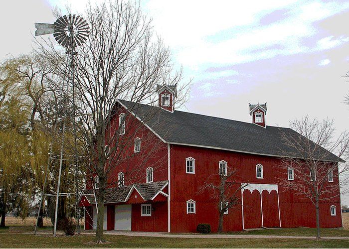 Amish Barn Greeting Card featuring the photograph Amish Barn and Wind Mill - Allen County Indiana by Suzanne Gaff