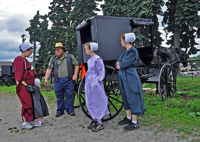 Amish Greeting Card featuring the photograph Amish Family Travelers by Brian Graybill
