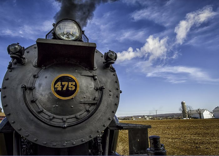 Strasburg Rr Greeting Card featuring the photograph Amish Farmland And Brilliant Blue Sky Frame #475 Steam Engine - Strasburg Rr  02 by Mark Serfass