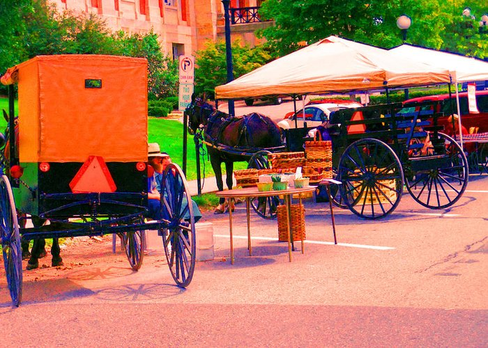Town Market Greeting Card featuring the digital art Amish Market. by Joseph Wiegand
