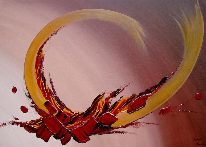 Abstract Greeting Card featuring the painting Amour Fou by Thierry Vobmann