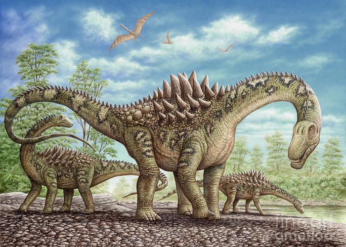 Animal Greeting Card featuring the painting Ampelosaurus dinosaur by Phil Wilson