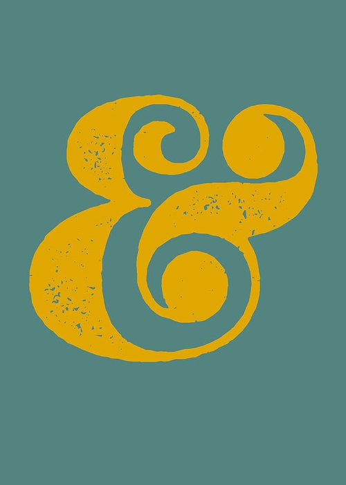 Ampersand Greeting Card featuring the digital art Ampersand Poster Blue and Yellow by Naxart Studio