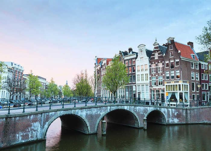 North Holland Greeting Card featuring the photograph Amsterdam At Dusk by Fraser Hall