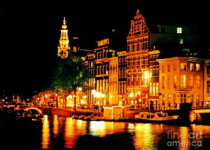 Amsterdam At Night Four Greeting Card featuring the photograph Amsterdam At Night Four by John Malone