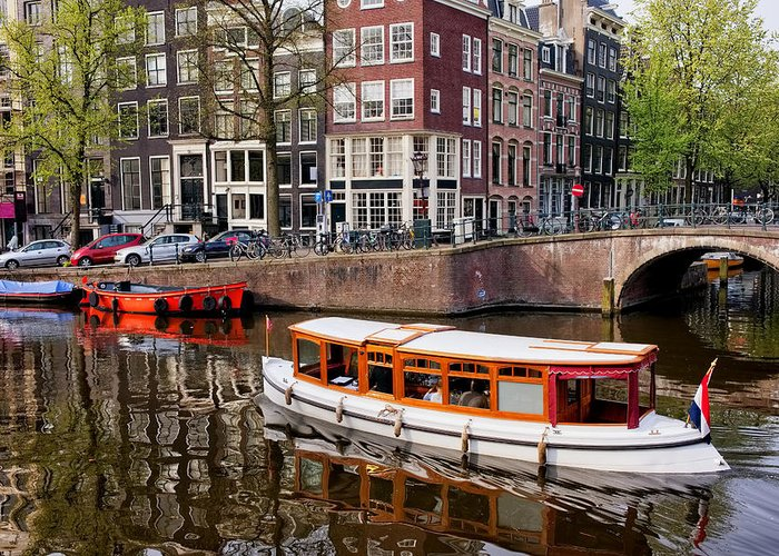 Amsterdam Greeting Card featuring the photograph Amsterdam Canal And Houses by Artur Bogacki