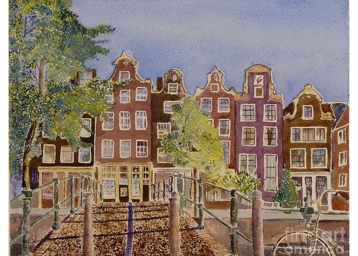 Amsterdam Greeting Card featuring the painting Amsterdam by Godwin Cassar