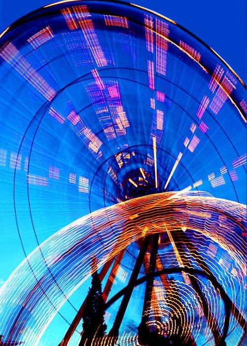Amusement Park Greeting Card featuring the photograph Amusement Park Rides 1 by Steve Ohlsen