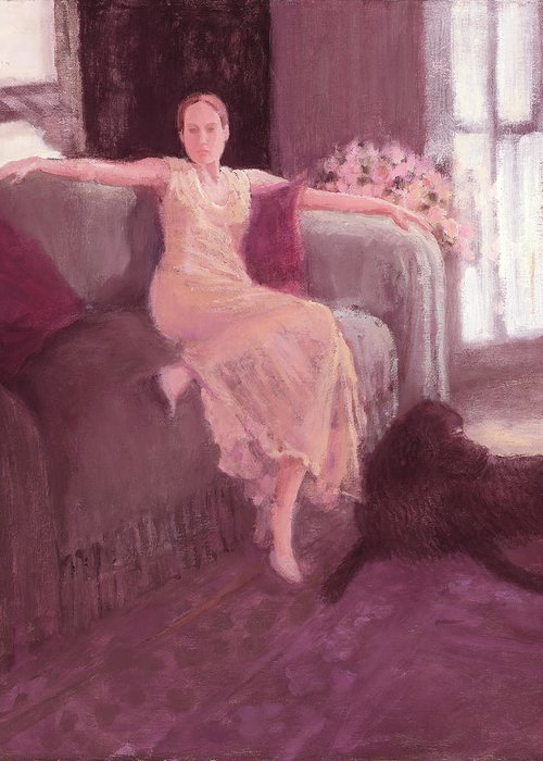 Lady Sitting Greeting Card featuring the painting Amy And Bogey by J Reifsnyder