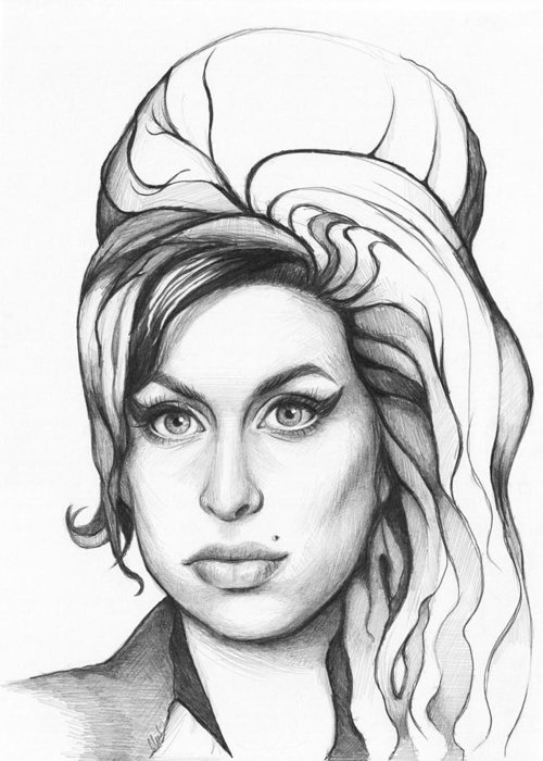 Amy Greeting Card featuring the drawing Amy Winehouse by Olga Shvartsur