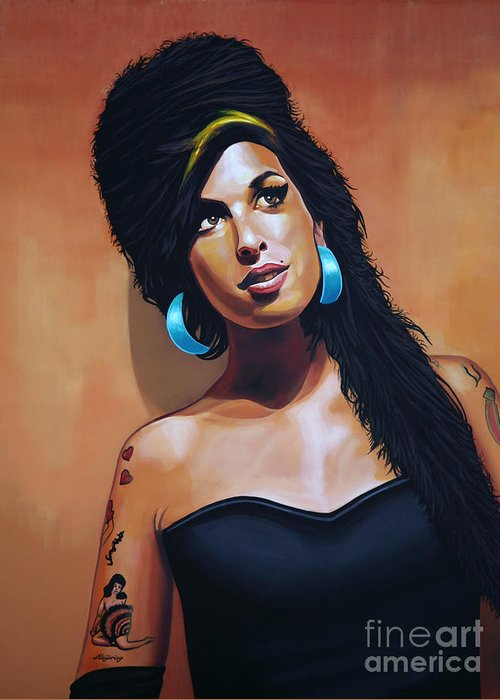 Amy Winehouse Greeting Card featuring the painting Amy Winehouse by Paul Meijering