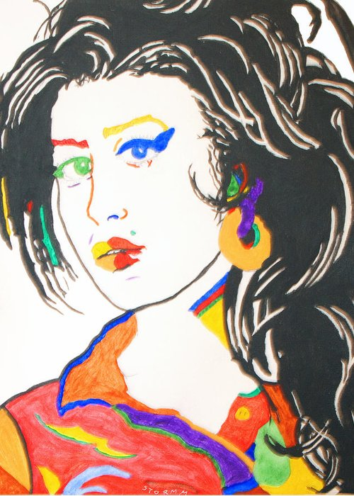 Amy Winehouse Greeting Card featuring the painting Amy Winehouse by Stormm Bradshaw