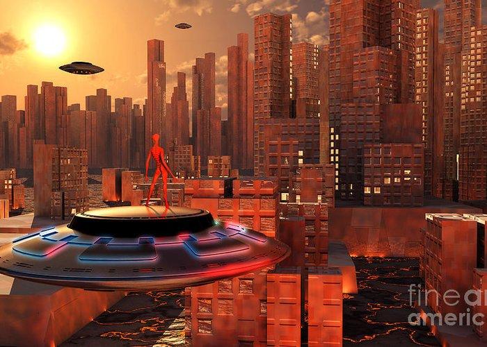 Horizontal Greeting Card featuring the digital art An Alien Race Migrating by Mark Stevenson