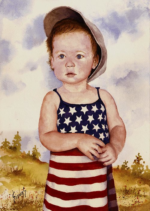 Kid Greeting Card featuring the painting An All American Girl Named Ireland by Sam Sidders