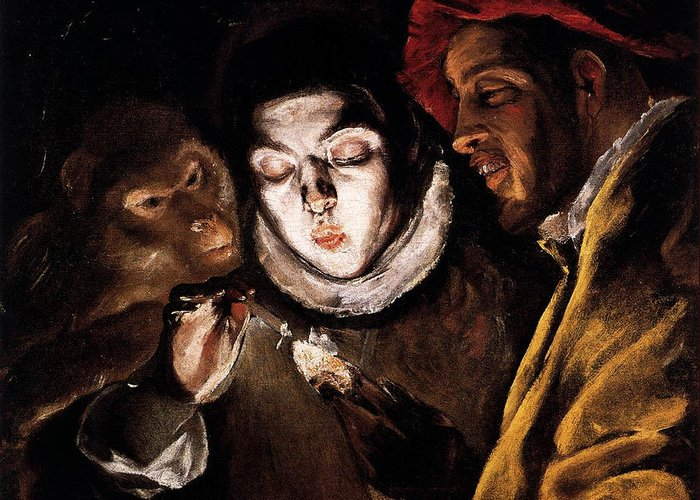 An Allegory With A Boy Lighting A Candle In The Company Of An Ape And A  Fool Greeting Card