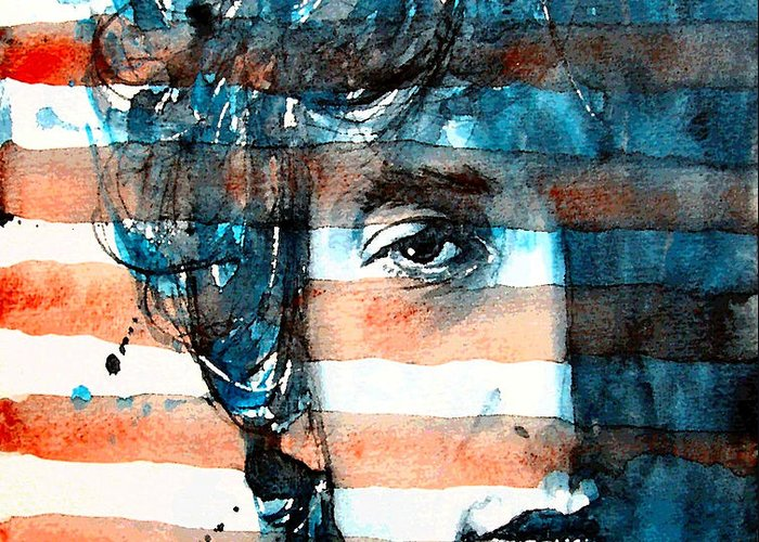 Bob Dylan Greeting Card featuring the painting An American Icon by Paul Lovering