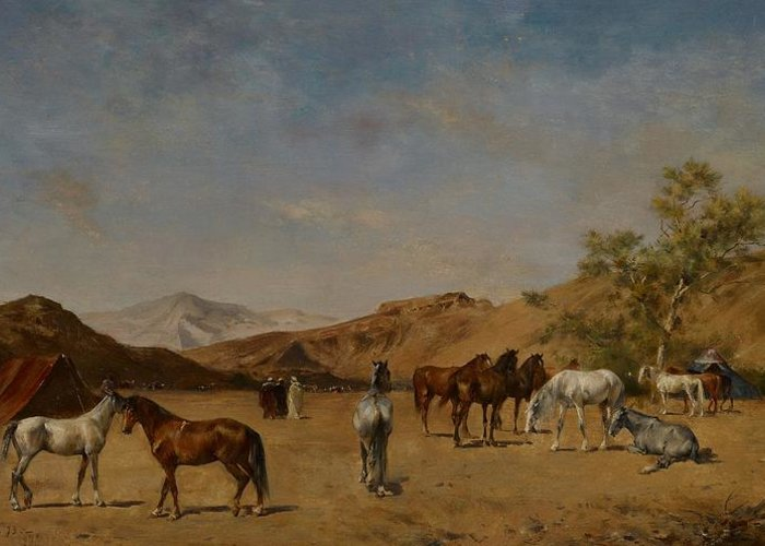 Arabian; Arabia; Middle East; Middle Eastern; Landscape; Desert; Horses; Horse; Mountains; Mountainous; Arid; Wilderness; Camp; Encampment; Travel; Travellers; Tent; Tents; Journey Greeting Card featuring the painting An Arabian Camp by Eugene Fromentin