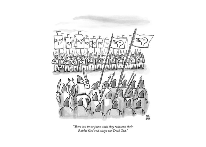 War Greeting Card featuring the drawing An Army Lines Up For Battle by Paul Noth
